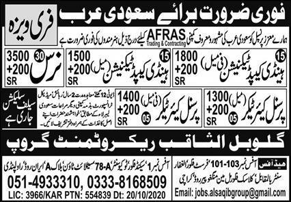 Latest Saudi Arabia free visa company jobs