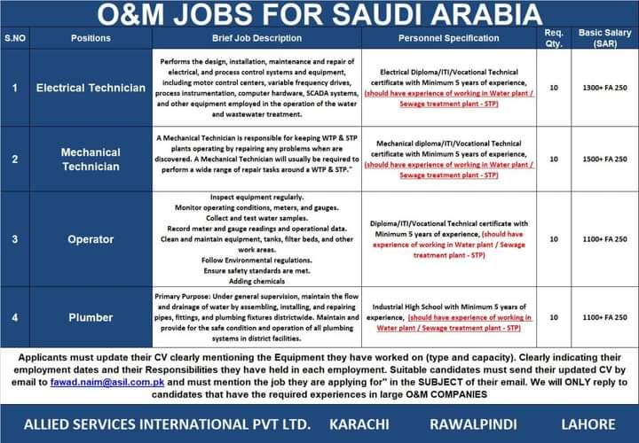 Maintenance Visa jobs in Saudi Arabia