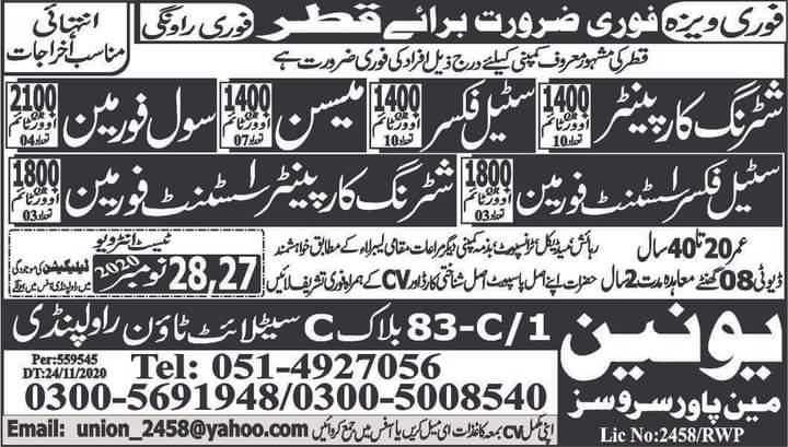 Qatar Free visa jobs
