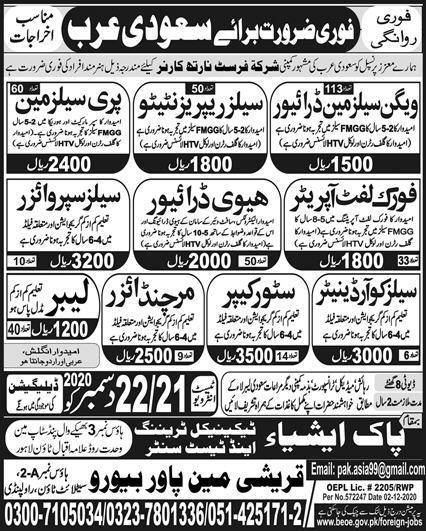 900 Staff Required in Saudi Arabia