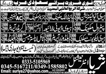 450 staff Required in Saudi Arabia