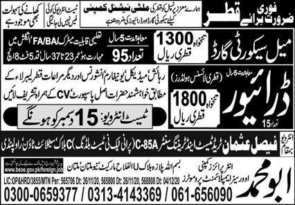 Excellent Free visa jobs in Qatar
