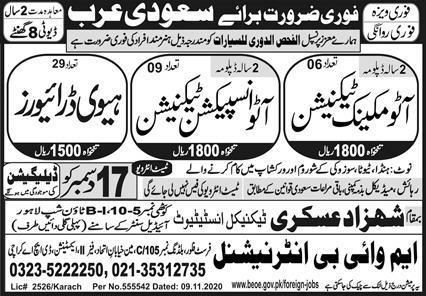 Technicians Required in Saudi Arabia