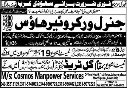Workers Required in Saudi Arabia