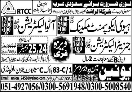 Free Visa company jobs in Saudi Arabia
