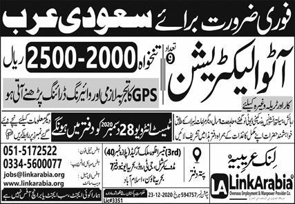 Latest Electrician jobs in Saudi Arabia