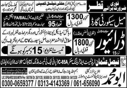 Excellent visa jobs in Qatar