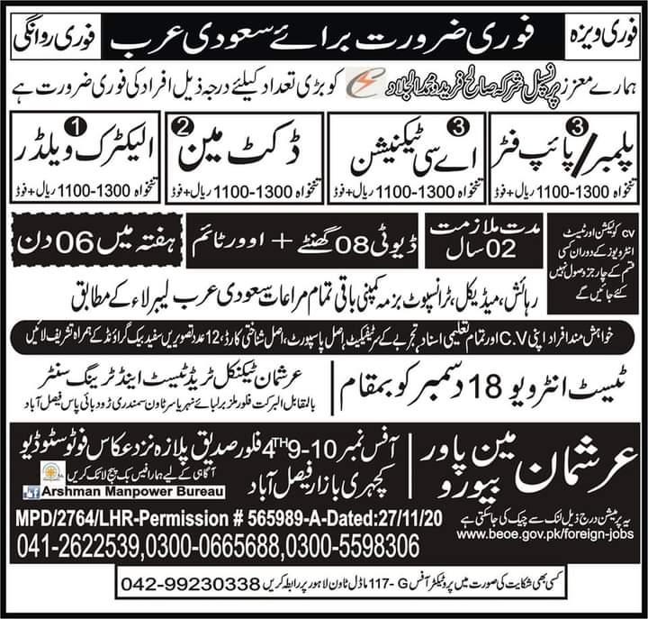 Fresher Required in Saudi Arabia