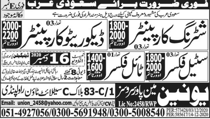 200 New staff Required in Saudi Arabia