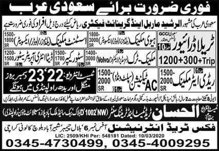450 staff Required in Saudi Arabia
