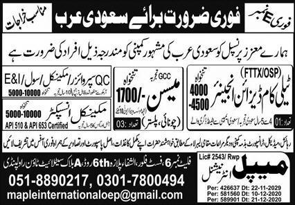 Free 300 jobs for Saudi Arabia
