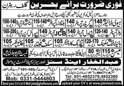 Free Bahrain Work visa jobs