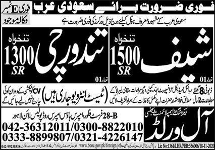 Hotel Free work Visa jobs in Saudi Arabia