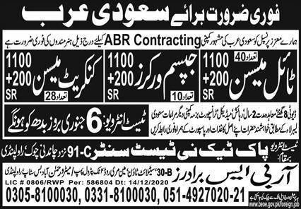ABR Company visa jobs in Saudi Arabia