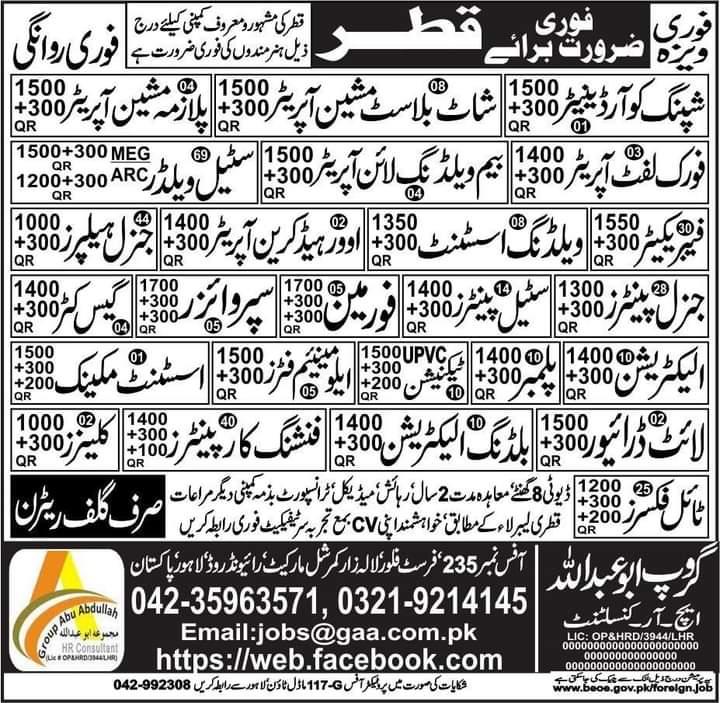 Qatar Free work visa jobs