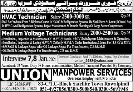HVAC Technicians Required in Saudi Arabia