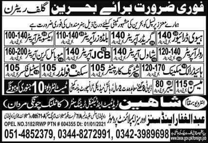 Free work visa jobs in Bahrain