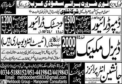 Free visa and ticket jobs in Saudi Arabia
