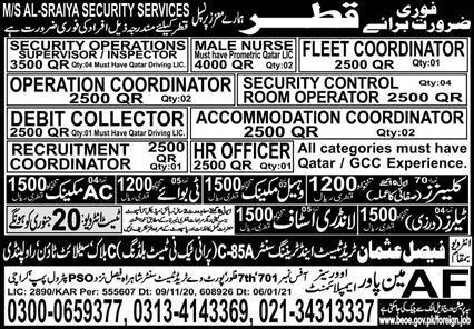 Latest work visa jobs in Qatar
