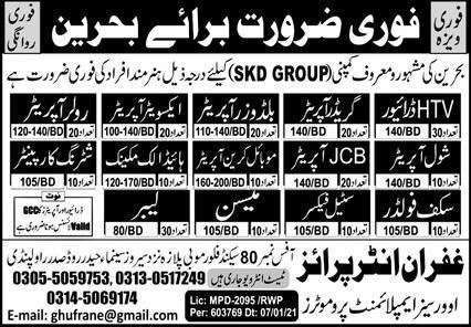 SKD Group of Company Free Work Visa Jobs