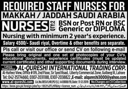 Nurses Free work Visa Jobs