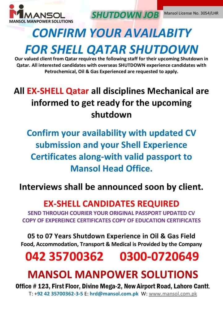 Free visa Shutdown jobs in Qatar