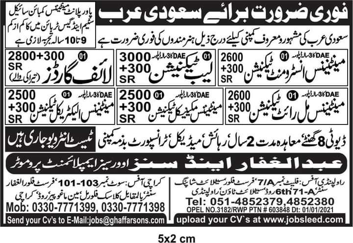 Maintenance Company Visa Jobs