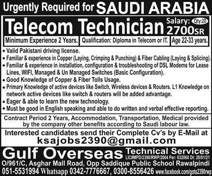 Latest Free work visa jobs in Telecom