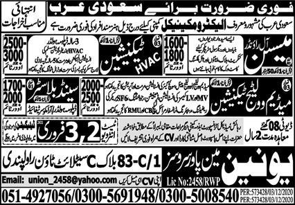 Electromechanical Company Free visa jobs