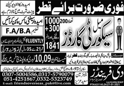 Urgently required 200 security guards