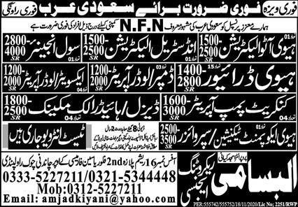 Excellent work visa jobs in NFN company