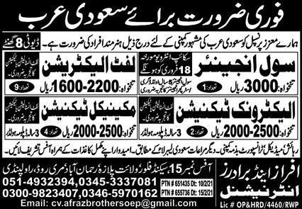 Latest Engineers Required in Saudi Arabia