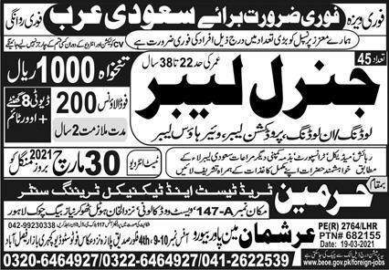 General Labours jobs in Saudi Arabia 2021