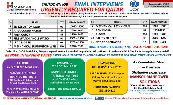 Urgently required for Qatar