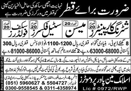 Construction workers required in Qatar 2021