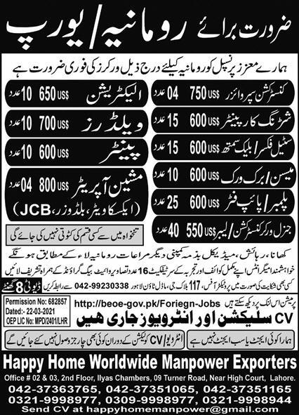 Europe Free Visa Jobs For Pakistani