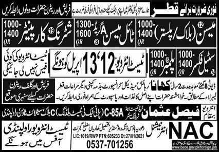 Latest Free visa jobs in Qatar