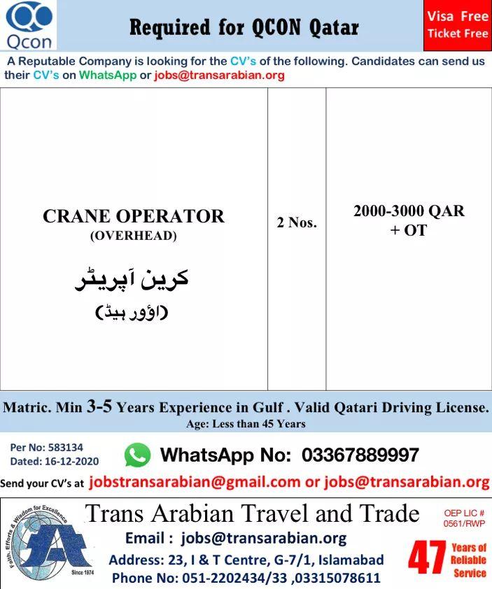 Crane operators Job in Qatar 2021