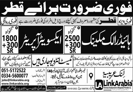 Latest Free work Visa Jobs In Qatar