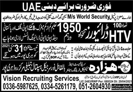 Dubai visa jobs for Drivers
