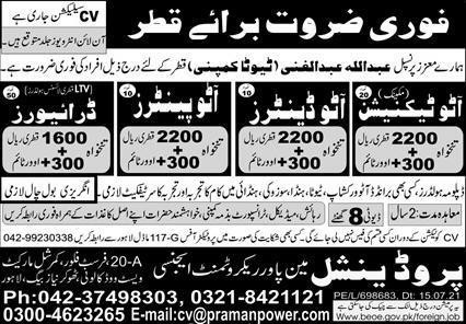 Free visa Jobs in Toyota Company Qatar