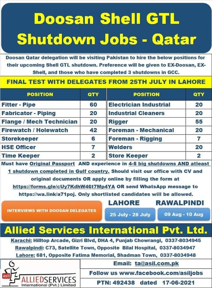 Shutdown Jobs in  Doosan company Qatar 2021