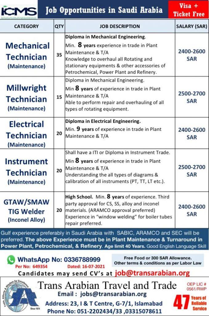 Free visa jobs in ICMS Company saudi Arabia