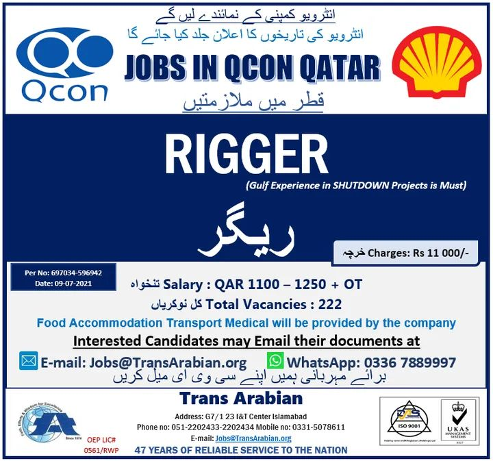 Rigger Jobs in Qatar Qcon Company 2021