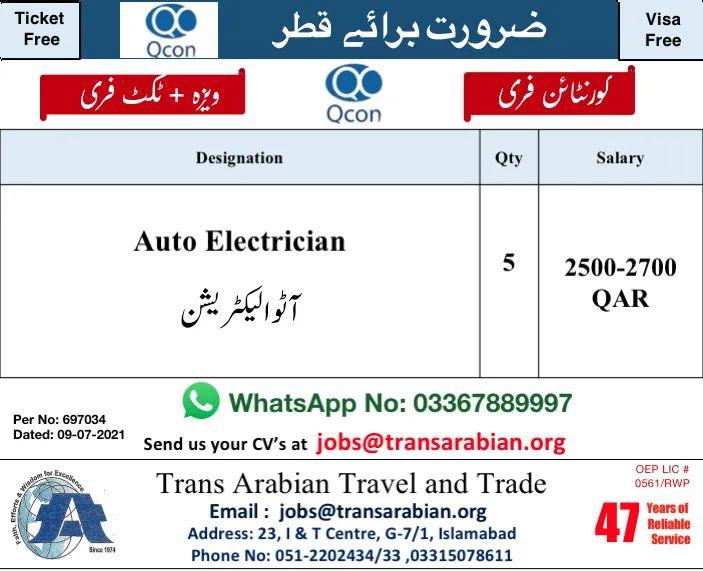 Auto Electricians Jobs in Qatar 2021